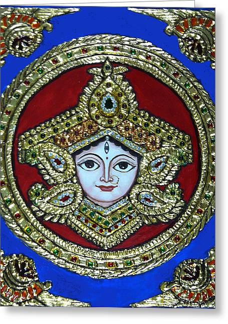 Tanjore Greeting Cards - trinetra Durgaji Greeting Card by Vimala Jajoo