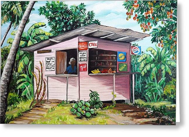 Mango Greeting Cards - Trini Roti Shop Greeting Card by Karin Kelshall- Best