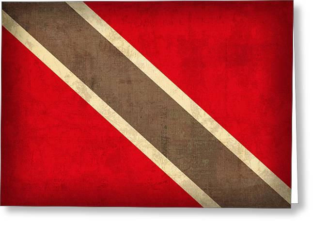 National Symbol Greeting Cards - Trinidad and Tobago Flag Vintage Distressed Finish Greeting Card by Design Turnpike
