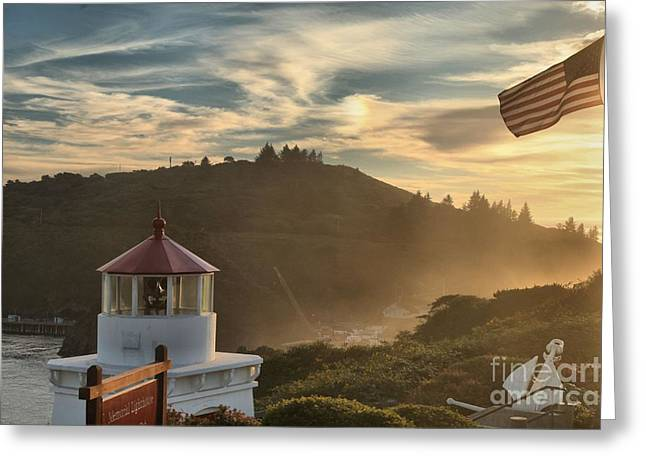 Foggy Beach Greeting Cards - Trinidad Beach Lighthouse Greeting Card by Adam Jewell