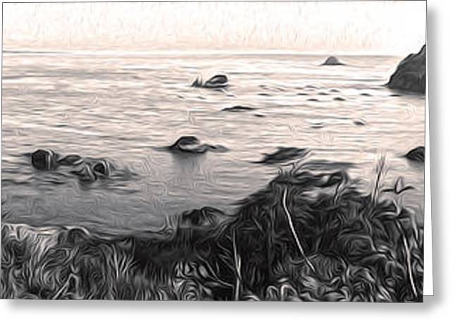Gregory Dyer Greeting Cards - Trinidad California - Bay Veiw - sepia tone Greeting Card by Gregory Dyer