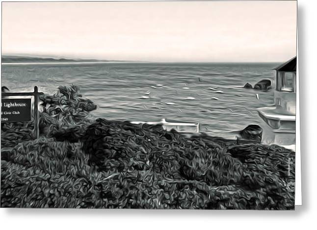 Gregory Dyer Greeting Cards - Trinidad California - Lighthouse - sepia tone Greeting Card by Gregory Dyer