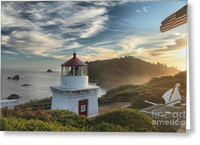 Foggy Beach Greeting Cards - Trinidad Light Greeting Card by Adam Jewell