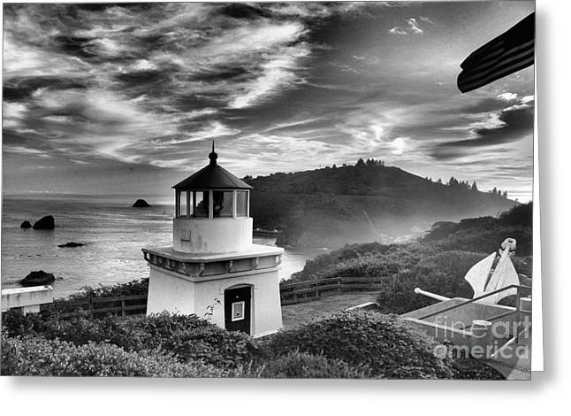 Foggy Beach Greeting Cards - Trinidad Light In Black And White Greeting Card by Adam Jewell