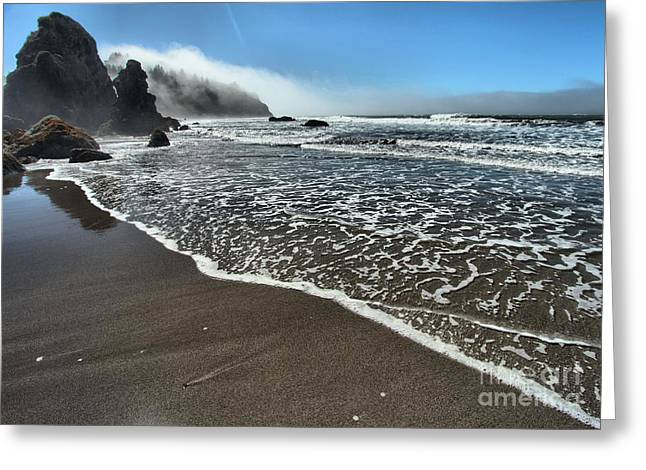 Foggy Beach Greeting Cards - Trinidad Textures Greeting Card by Adam Jewell