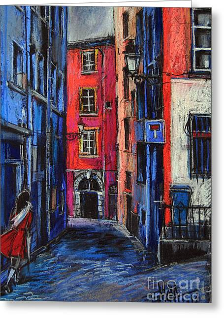 Urban Buildings Pastels Greeting Cards - Trinite Square Lyon Greeting Card by Mona Edulesco