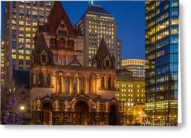 Chanukkah Greeting Cards - Trinity Church in Copley Square Greeting Card by Susan Cole Kelly