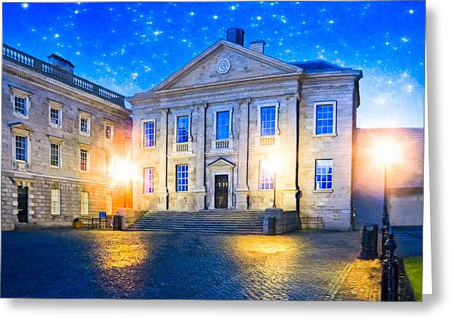 Dining Hall Greeting Cards - Trinity College Dining Hall at Night Greeting Card by Mark Tisdale