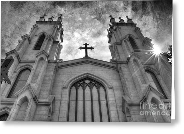 White Church Greeting Cards - Trinity Episcopal Cathedral Greeting Card by Michael Eingle