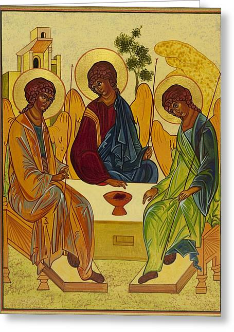 Holy Trinity Icon Greeting Cards - Trinity Greeting Card by Gail Schimberg