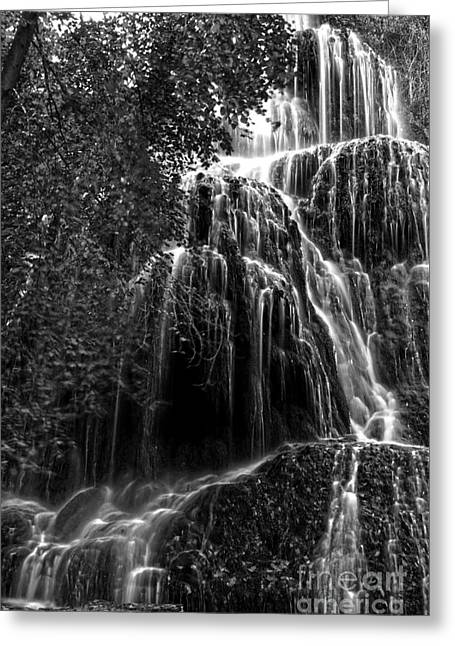 Bw Waterfalls Greeting Cards - Trinity waterfall in Monasterio de Piedra Park BW Greeting Card by RicardMN Photography
