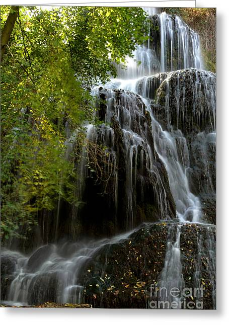 Dinning Room Greeting Cards - Trinity waterfall in Monasterio de Piedra Park Greeting Card by RicardMN Photography