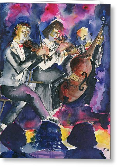 Cellist Greeting Cards - Trio, 1998 Wc On Paper Greeting Card by Hilary Rosen