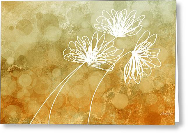 Moss Green Greeting Cards - Trio Abstract Flower Art  Greeting Card by Ann Powell