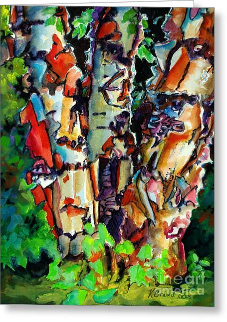 Birch Tree Mixed Media Greeting Cards - Trio Birch 2014 Greeting Card by Kathy Braud
