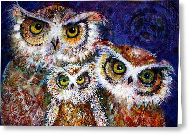 Lovely Owl Greeting Cards - Trio Greeting Card by Laurel Bahe