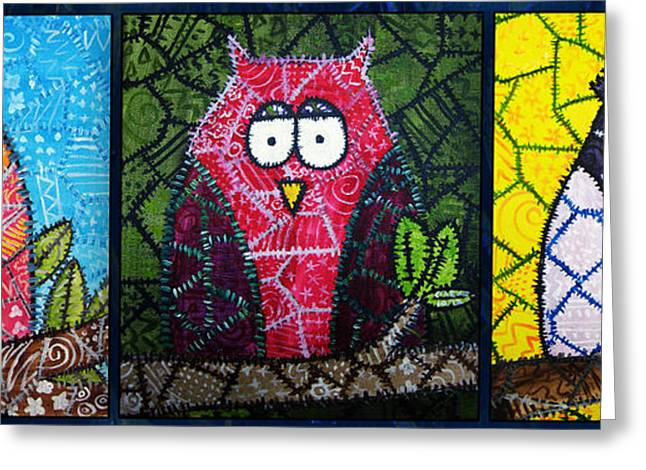 Owl Greeting Cards - Trio of Patchwork Owls Greeting Card by Stacey Clarke