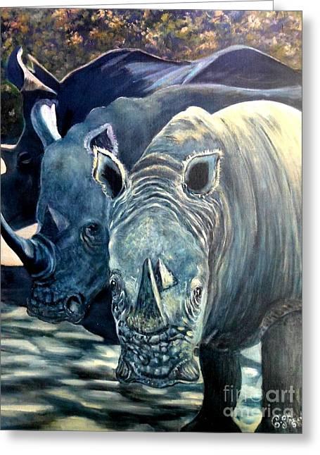 Trio Of Rhino Greeting Card by Caroline Street