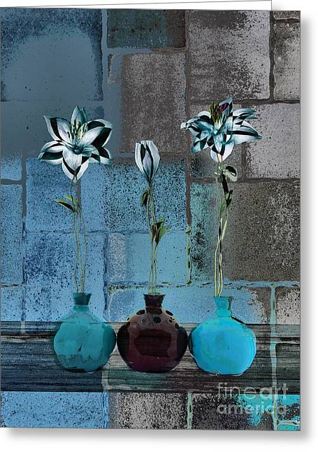 Floral Still Life Digital Greeting Cards - Triolet Floral v39 Greeting Card by Variance Collections