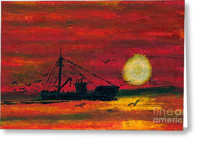 Masts Pastels Greeting Cards - Trip Home Greeting Card by R Kyllo