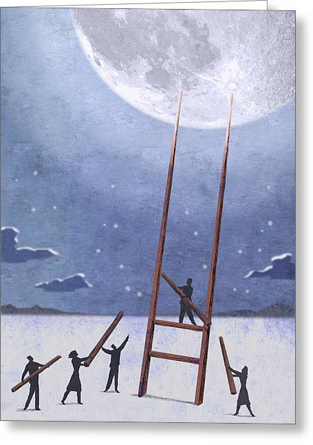 Cooperation Digital Art Greeting Cards - Trip To The Moon Greeting Card by Steve Dininno