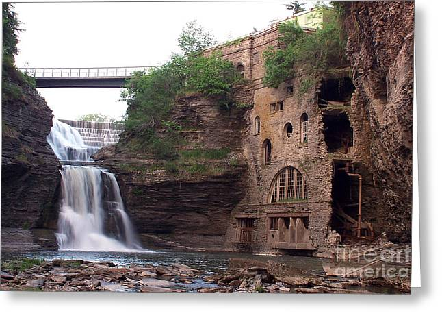 Ithaca Greeting Cards - Triphammer Falls Greeting Card by Debbie Fieno
