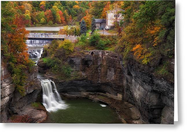 Ithaca Greeting Cards - Triphammer Falls Greeting Card by Mark Papke