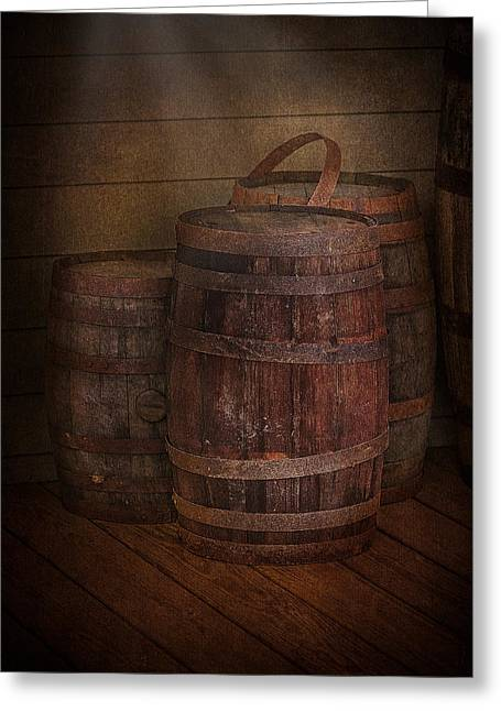 Viticulture Digital Greeting Cards - Triple Barrels Greeting Card by Susan Candelario