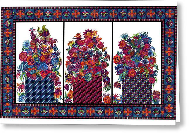 Botanicals Tapestries - Textiles Greeting Cards - Triple Bloom Greeting Card by Lawrence Chvotzkin