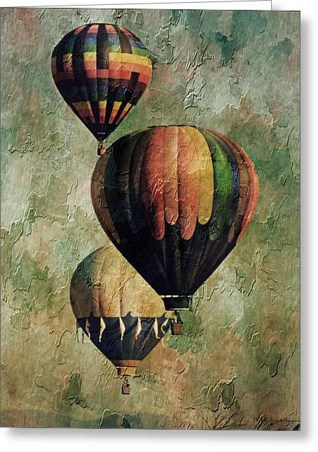 Frizzell Greeting Cards - Triple Classic Balloons Greeting Card by Michelle Frizzell-Thompson