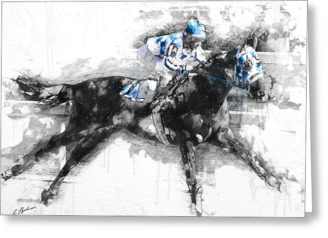 Belmont Stakes Greeting Cards - Triple Crown 73 Greeting Card by Gary Bodnar