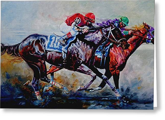 Race Horse Greeting Cards - The Preakness Stakes Greeting Card by Hanne Lore Koehler