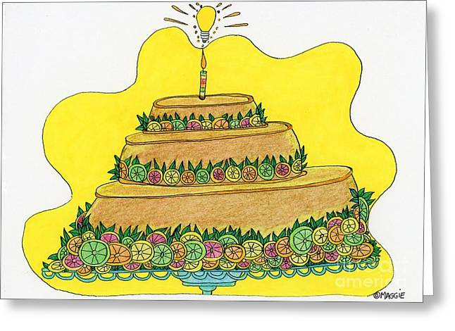 Kiwi Art Drawings Greeting Cards - Triple-Decker Flan  Greeting Card by Mag Pringle Gire