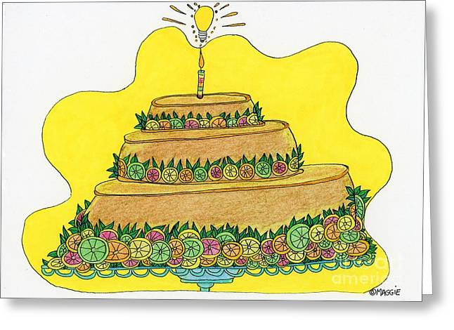 Grapefruit Drawings Greeting Cards - Triple-Decker Flan  Greeting Card by Mag Pringle Gire