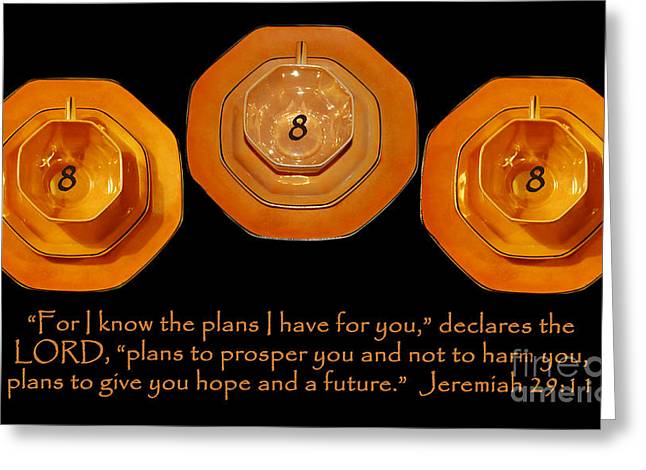 Prosper Greeting Cards - Triple Eight Octagon Saucers with Jeremiah Twenty Nine Eleven on Black Greeting Card by Heather Kirk