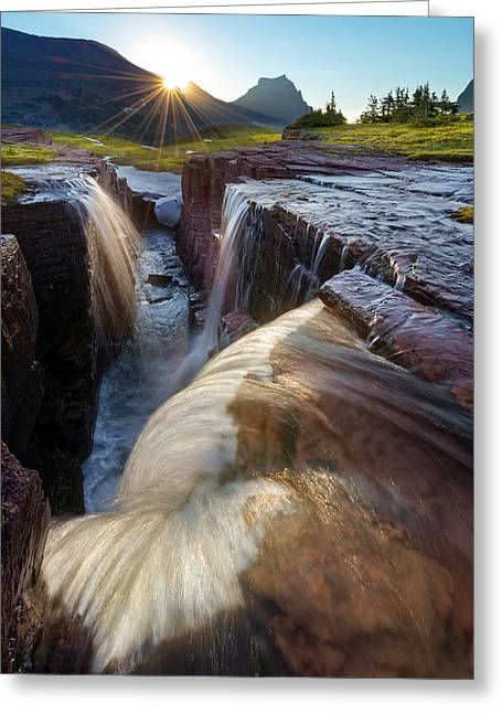 Sunflare Greeting Cards - Triple Falls Greeting Card by Dustin  LeFevre