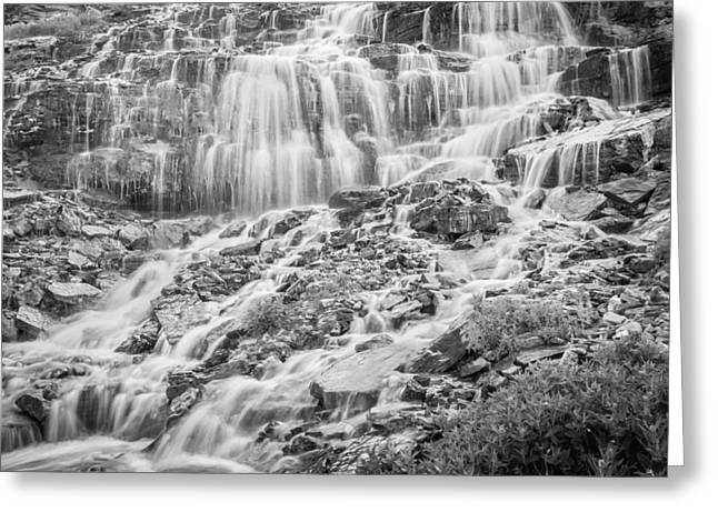 Clean Water Greeting Cards - Triple Falls Glacier National Park BW Greeting Card by Rich Franco
