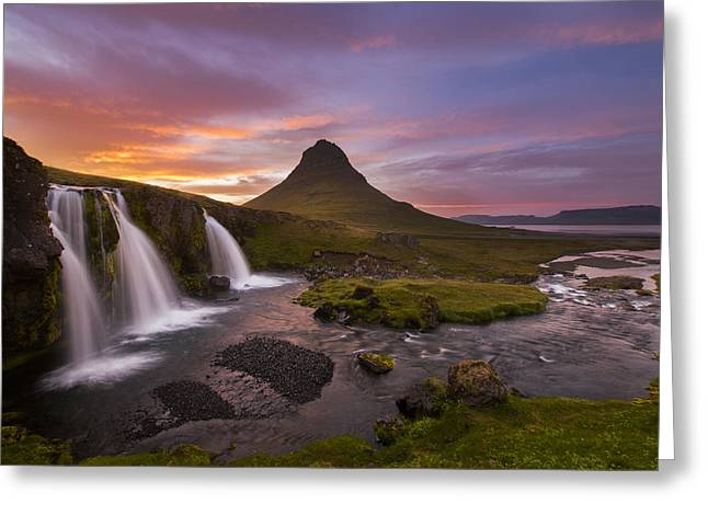 Iceland Greeting Cards - Triple Falls Greeting Card by Joseph Rossbach