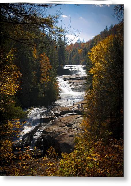 Outlook Greeting Cards - Triple Falls Greeting Card by Penny Lisowski