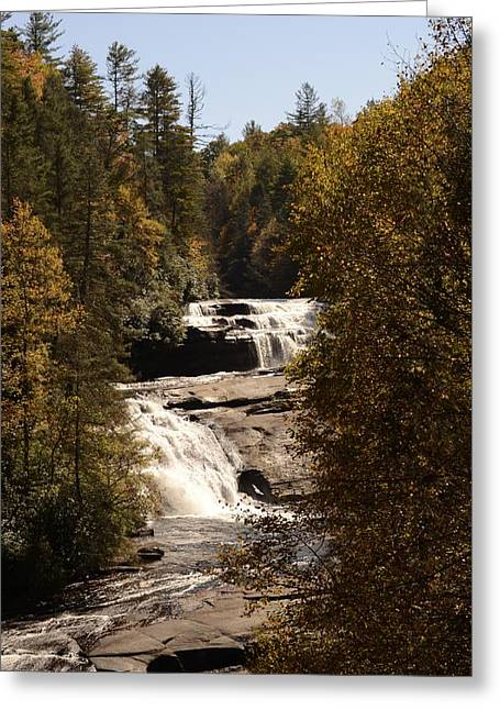 Blue Ridge Pyrography Greeting Cards - Triple Falls Greeting Card by Scott Christofferson