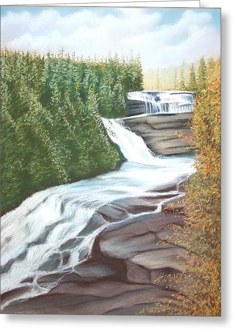 Tourists Pastels Greeting Cards - Triple Falls Greeting Card by Stacy C Bottoms