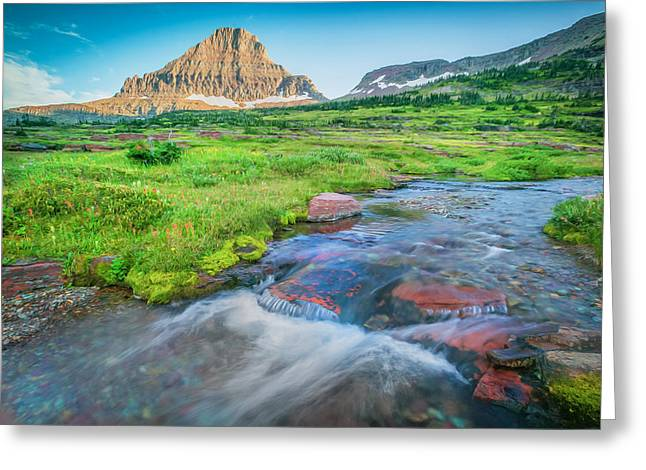 Clean Water Greeting Cards - Triple Falls Stream Glacier National Park Painted  Greeting Card by Rich Franco