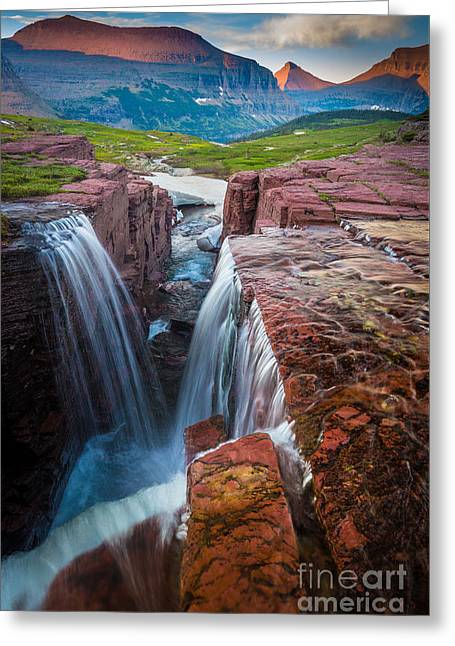 Clouds; Landscape; Mountainous; Mountains; Nature; Nobody; Outdoors; Outside; Rocks; Rocky; Sky; The Altay Mountains; Tourism Greeting Cards - Triple Falls Sunset Greeting Card by Inge Johnsson