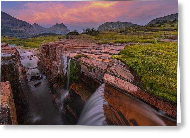 Montana Landscapes Photographs Greeting Cards - Triple Falls Sunset Greeting Card by Joseph Rossbach