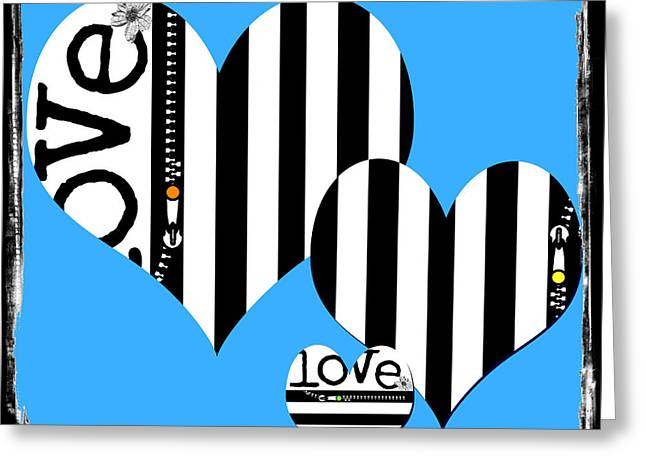 Surtex Licensing Greeting Cards - Triple Heart Love Blues Greeting Card by Anahi DeCanio