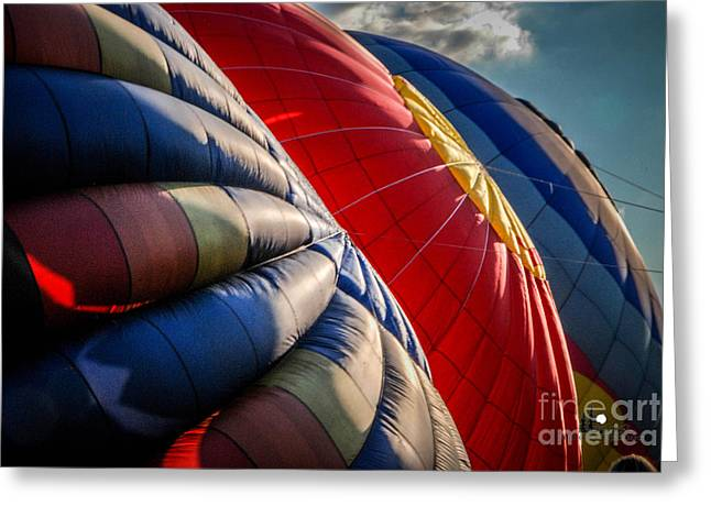 Three Hot Air Balloons Greeting Cards - Triple Inflate Greeting Card by Grace Grogan