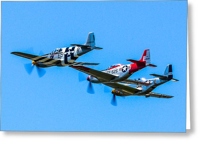 P-51 Mustang Photographs Greeting Cards - Triple Mustangs Greeting Card by Puget  Exposure