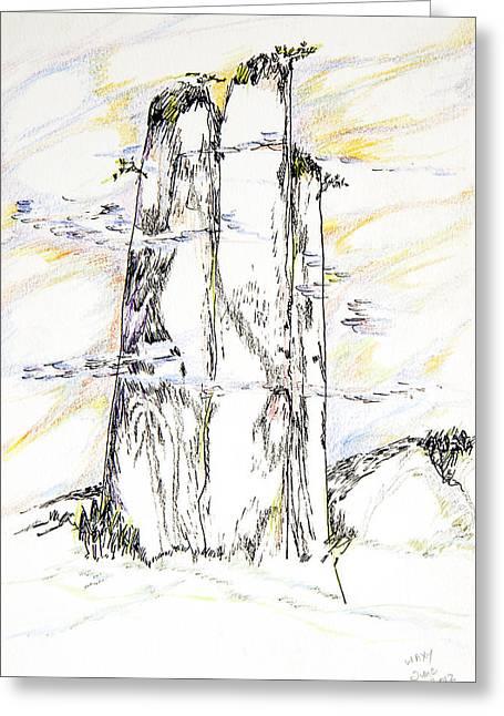 Monolith Drawings Greeting Cards - Chinese Triple Peaks Greeting Card by Kah wah Tan