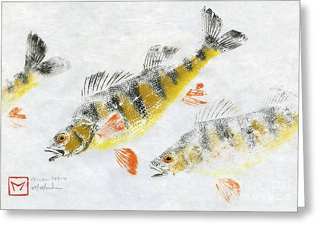 Gyotaku Greeting Cards - Triple Perch Greeting Card by Matt Monahan
