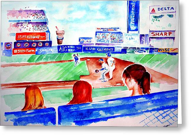 Shea Stadium Paintings Greeting Cards - Triple Play at Shea Greeting Card by Sandy Ryan